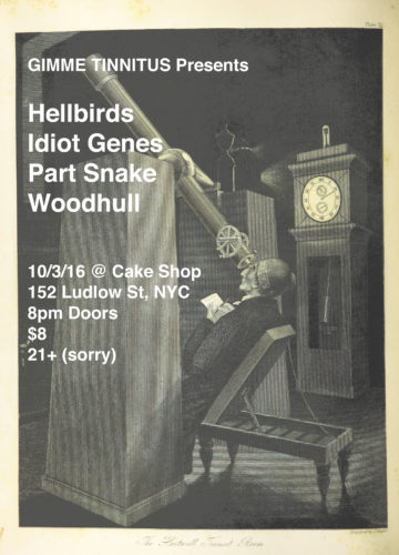 TONIGHT :: Hellbirds + Idiot Genes + Part Snake + Woodhull @ Cake Shop